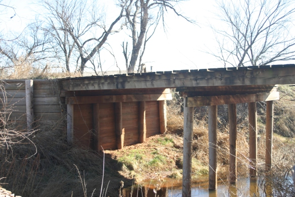 Wooden Stringer Bridge over Spring Creek, just a few miles west of where the bridge over Stinking Creek washed out.
